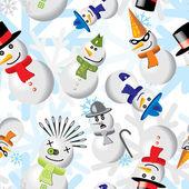 Patrones sin fisuras con muñecos de nieve en diferentes trajes — Vector de stock