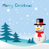 Wenskaart met voor Kerstmis & New Year sneeuwpop — Stockvector