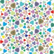 Stock Vector: Seamless pattern with colored hearts