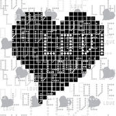 Seamless pattern with black and white square of the heart — Stock Vector
