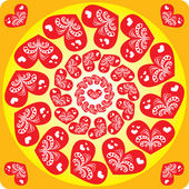 Seamless pattern with hearts in a circle — Stock Vector
