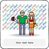Postkaarten man en vrouw met boeket — Stockvector