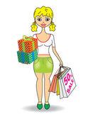Jovem magro com presentes e compras — Vetorial Stock