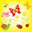 Colorful background with whimsical flowers, butterflies and ladybugs in a c — Stock Vector