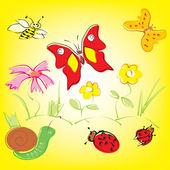 Kolorowe tła z kapryśny kwiaty, motyle i biedronki w c — Wektor stockowy