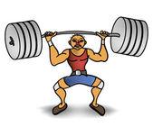 Adam bir ağırlık kaldırma — Stockvector