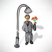 Mann in einem anzug mit den farben erwartet-treffpunkt — Stockvektor