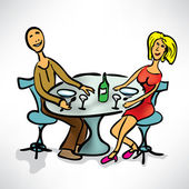 Loving couple on a date in a cafe — Stock Vector
