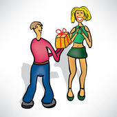 Man gives girl a gift — Stock Vector