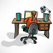 Stock Vector: Girl behind desk