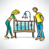 Young parents next to the baby's crib — Stock Vector