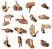 Hands show signs. Gesticulation. — Stock Photo