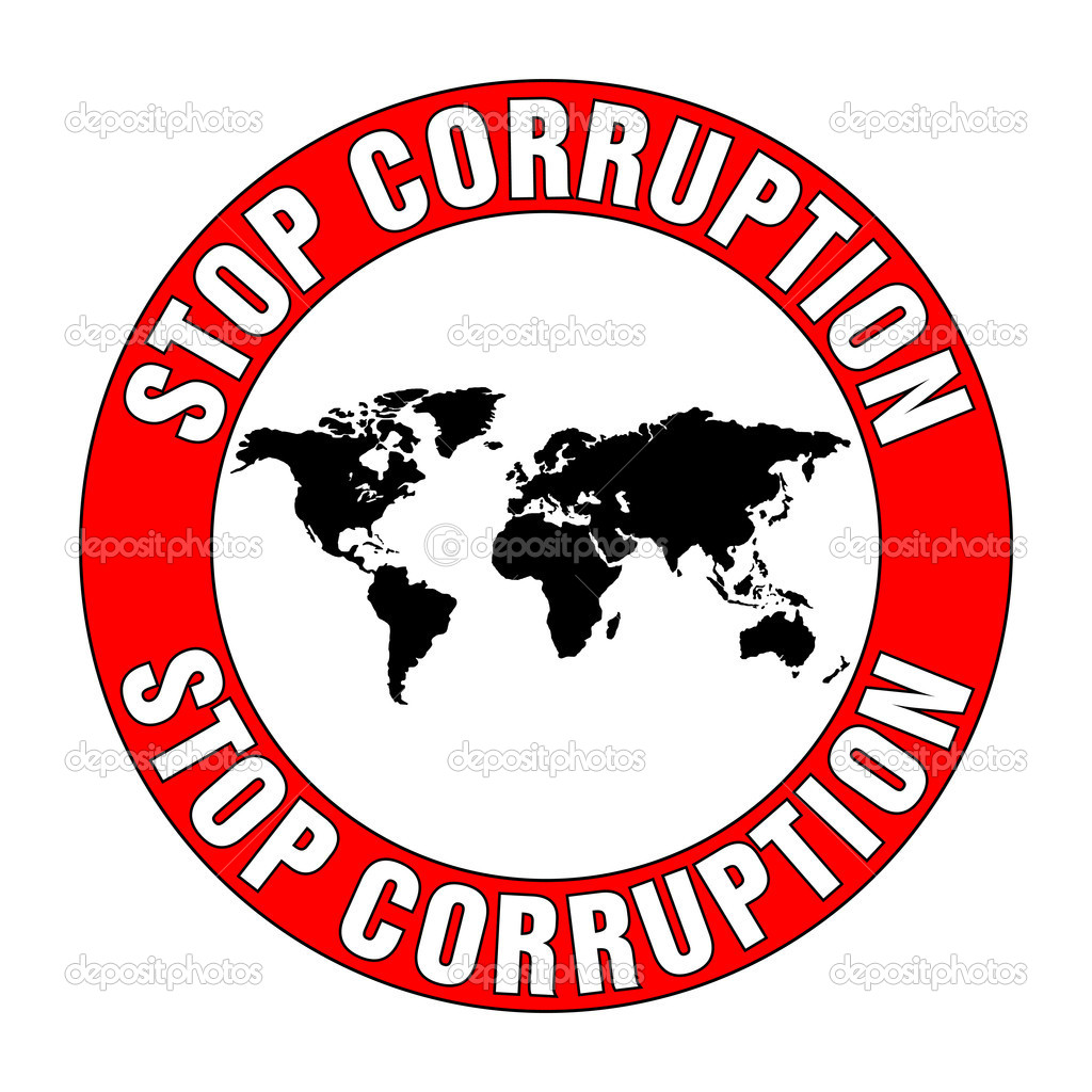 Illustration of stop corruption sign on white background — Stock Vector #10696264