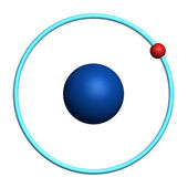 Hydrogen atom on white background — Stockfoto