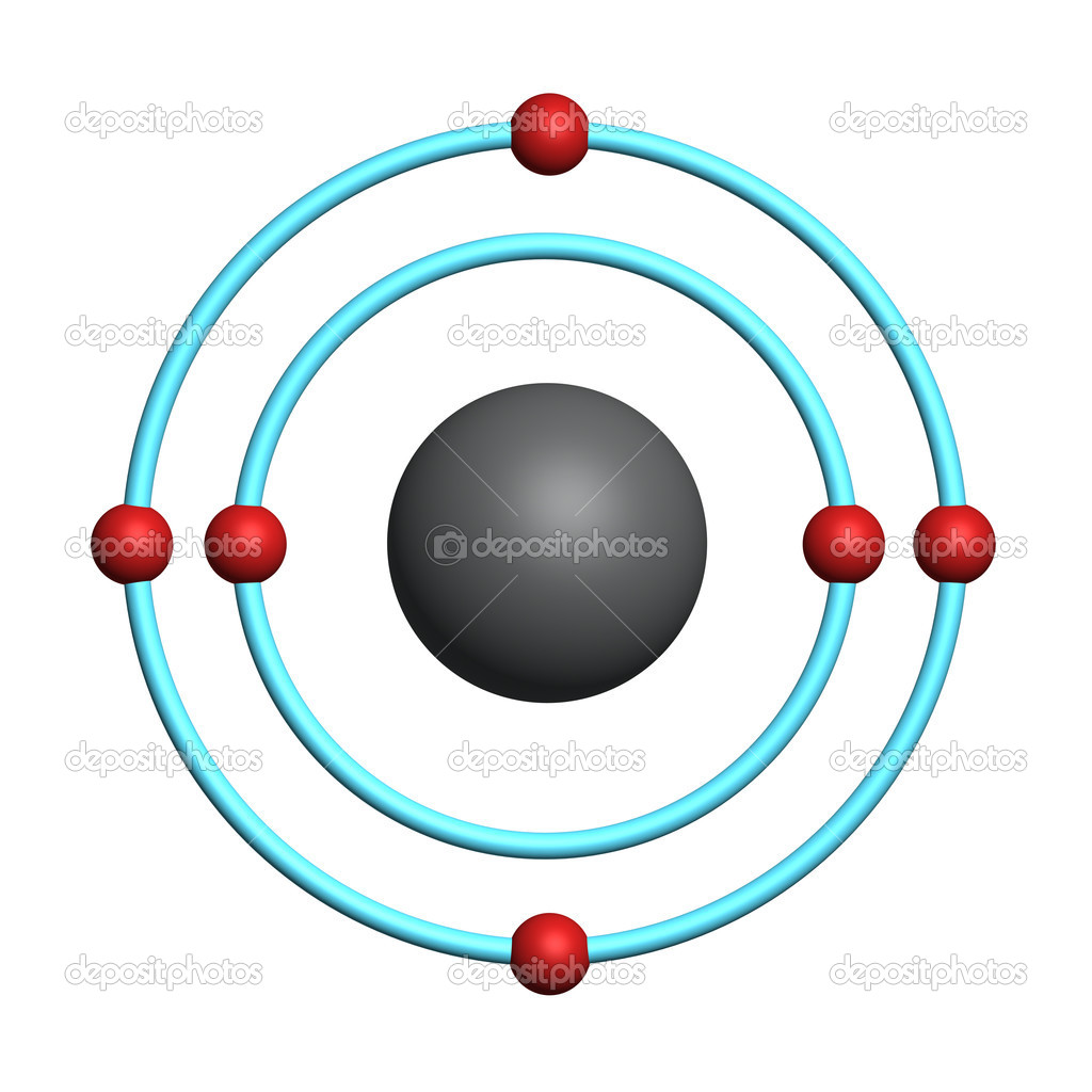 3D Carbon Atom http://depositphotos.com/8351212/stock-photo-Carbon-atom-on-white-background.html
