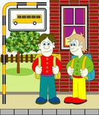 Chłopców czeka na autobus — Wektor stockowy
