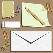 Office supplies composition — Stock Vector