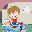 A little boy playing on a games console at home — Stock Photo