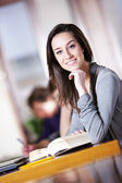 College students in a library studying for their exams, beautifu — Stock Photo