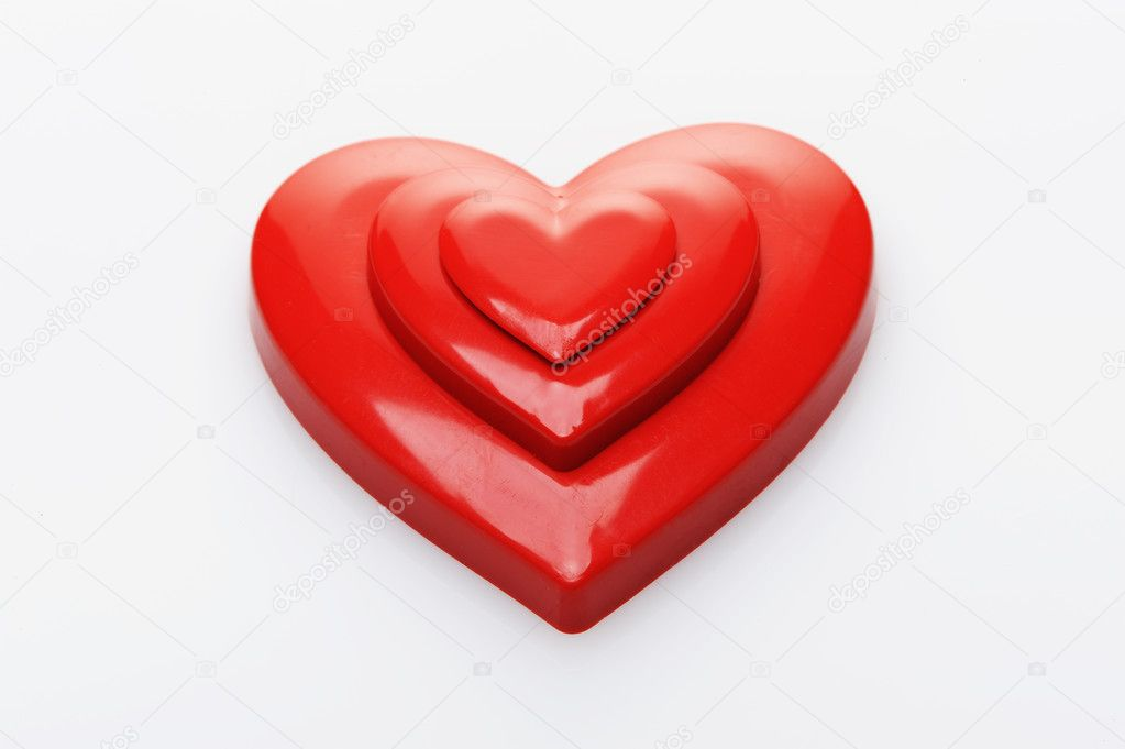 Red hearts on white background — Stock Photo #7983268