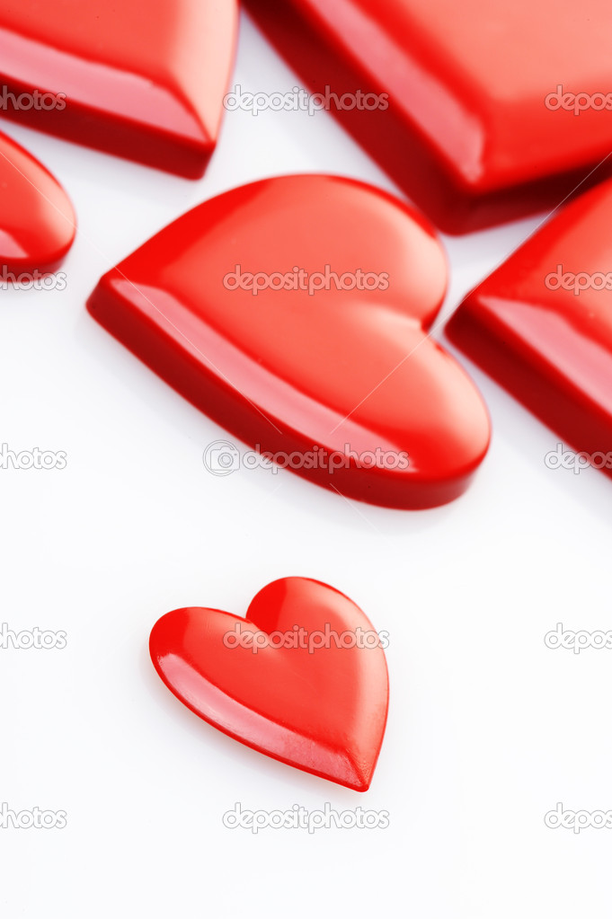 Red hearts on white background  Stock Photo #7983270