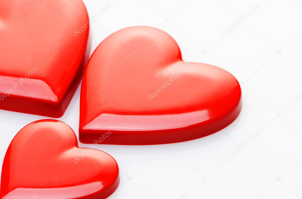 Red hearts on white background — Stock Photo #7983276