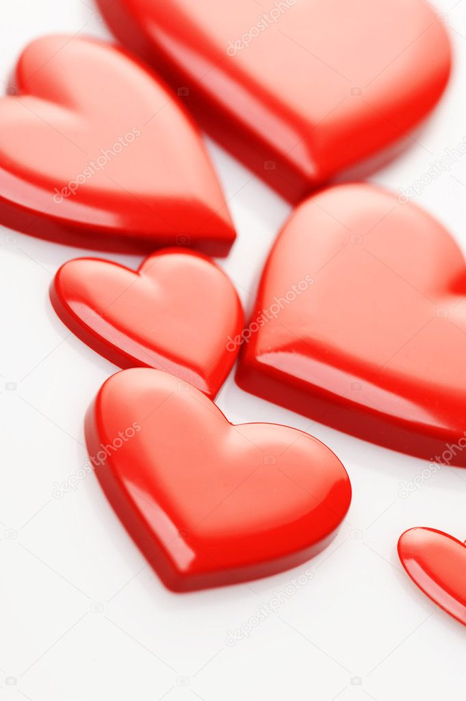Red hearts on white background  Foto de Stock   #7983282