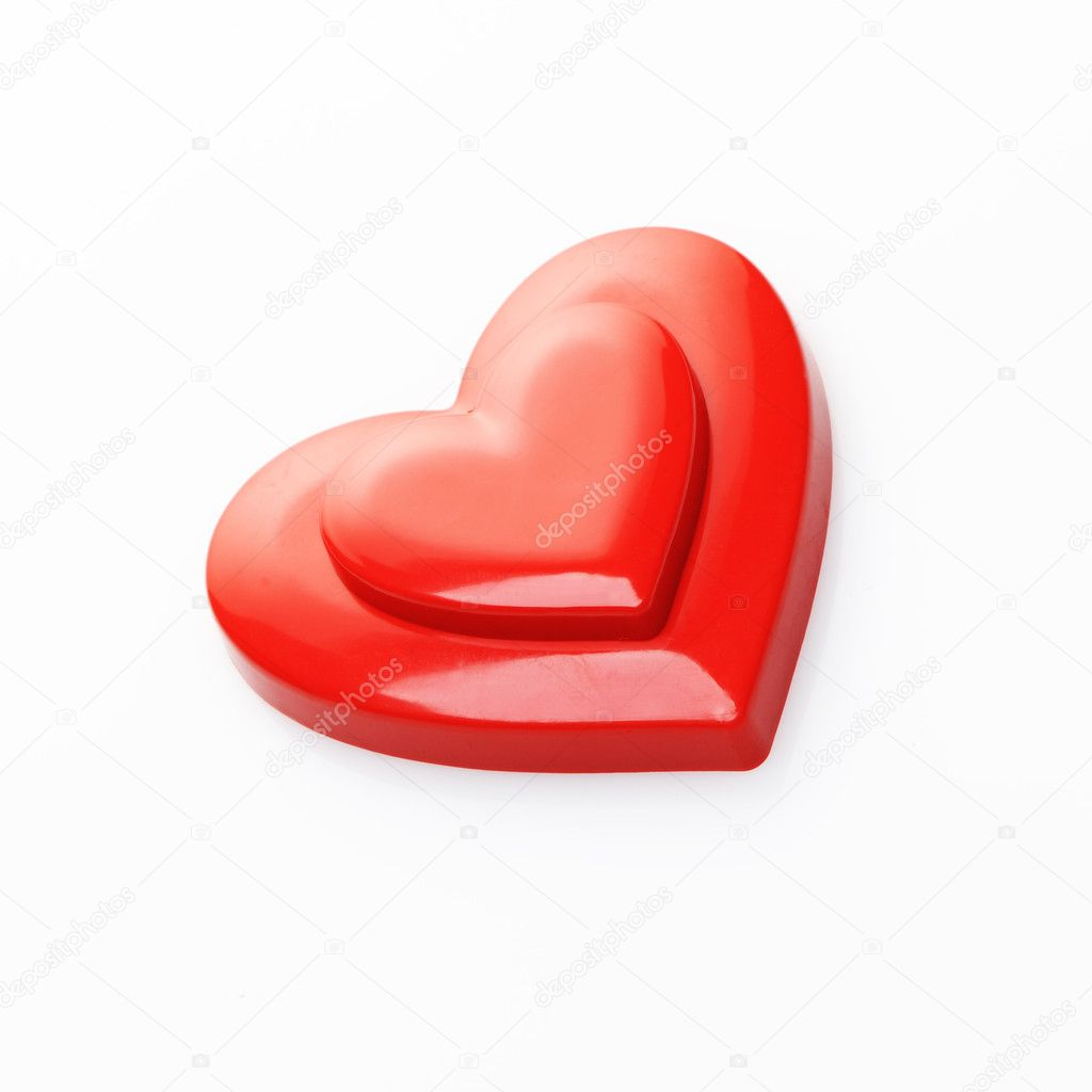 Red hearts on white background — Photo #8312060