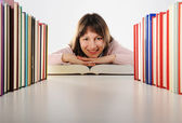 Female student with books, look at camera — Stock Photo