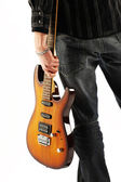 Guitarist rock star isolated on white background — Stock Photo