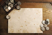 Treasure chest and old coins — Stock Photo