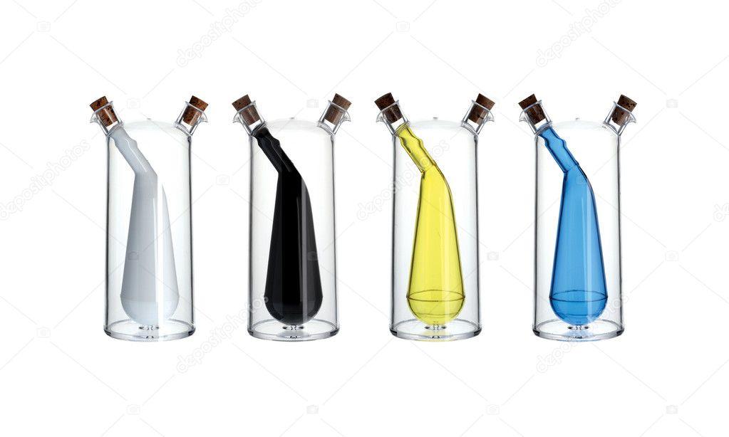 Achtergrond Witte Keuken : Keuken gereedschap: olie en azijn cruet ...