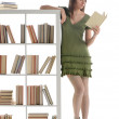 Female Student Portrait, read a book on library — Stock Photo