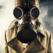 Grunge portrait man in gas mask — Stock Photo
