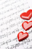 I love music! sheet of music with heart — Stock Photo