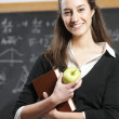 Portrait of a smiling student with apple in front of a blackboa — Stock Photo