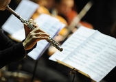 Kadın oynarken flüt — Stok fotoğraf