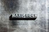 Metal HARD ROCK background : antique metal letter-press type. — Stock Photo