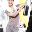 Stock Photo: Fitness portrait: young female stays fit.
