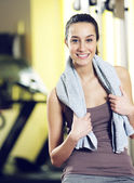 Portrait of a relaxed attractive young woman after exercise — Stock Photo