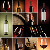 Wine collage, beautiful collection of wine images — Stock Photo