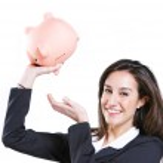 Young woman shaking her piggybank — Stock Photo