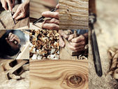 Carpenter and wood images collection — Stock Photo