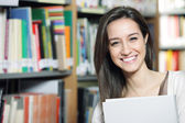Happy in the Library — Stock Photo