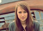 Beautiful brunette — Stok fotoğraf