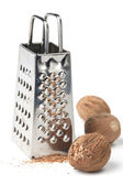 Nutmegs and grater — Stock Photo