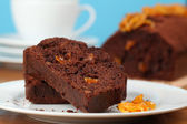 Chocolate cake with candied orange peel — Foto de Stock
