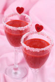 Valentines strawberry drink — Stock Photo