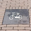 Bicycle sign on Dutch brick road — Stock Photo #10260454