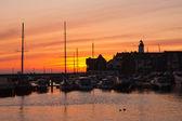 ウルク、オランダの港の日没のシルエット — ストック写真